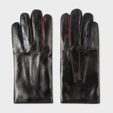 Paul Smith Men's Black Leather Concertina Gloves