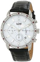 Burgi Women's BUR089BK Silver Chronograph Quartz Watch with White Mother of Pearl and White Dial With Black Embossed Leather Strap