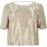 River Island Womens Plus gold grazer top