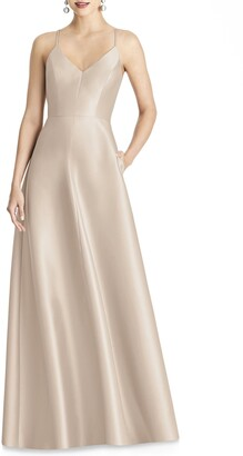Alfred Sung Crossback Satin Twill A-Line Gown
