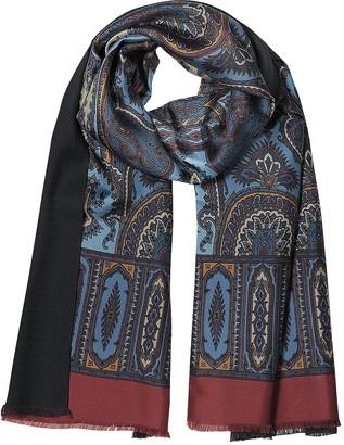 Forzieri Modal & Silk Ornamental Print Men's Fringed Scarf
