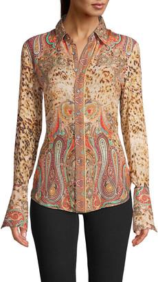Robert Graham Gabriela Leopard Paisley Flare-Sleeve Shirt