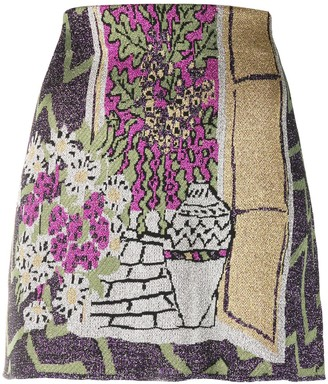 M Missoni Painting-Pattern Mini Skirt