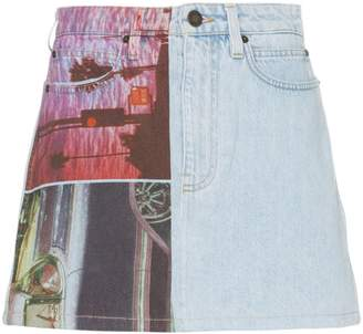 Calvin Klein Jeans Est. 1978 graphic print denim mini skirt
