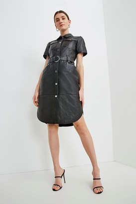 Karen Millen Leather Perforated Belted Shirt Dress