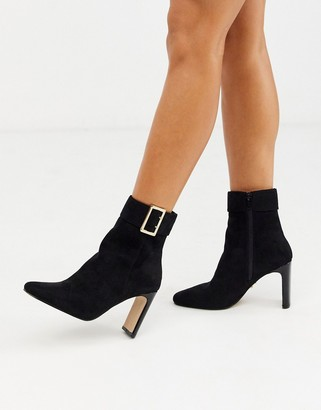 Lipsy cuffed ankle boot with buckle detail in black