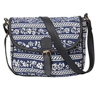 STUDIO 99 Women Crossbody Sling Bag-Boho Jacquard Canvas and Vegan PU Leather College for Ladies