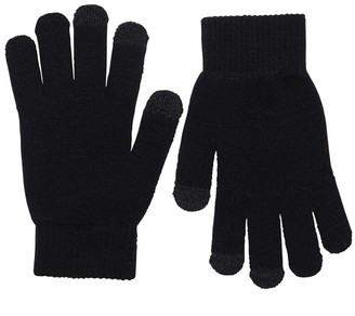 Only Womens Aline Two Pack Knit Finger Touch Gloves Black