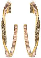 Swarovski Rose & Yellow Gold Plated Film Twisted Hoop Clip-On Earrings