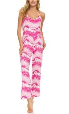 It's Just A Kiss Women's Cute Tie Dye Tank Top and Pajama Pants Set