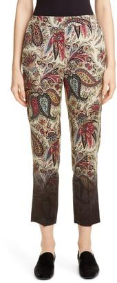 Etro Degrade Paisley Print Wool Crop Pants