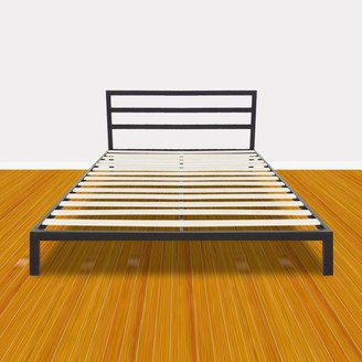 Overstock Bedroom Square Horizontal Bar Head of Bed Iron Sleeper Black