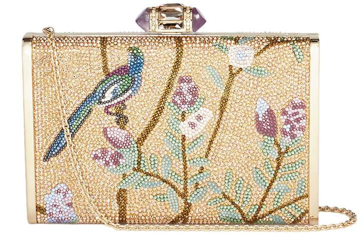 Judith Leiber 'Songbird' tall slender rectangle crystal pavé box clutch