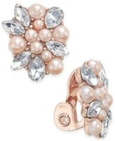 Charter Club Crystal & Imitation Pearl Clip-On Button Earrings, Only at Macy's