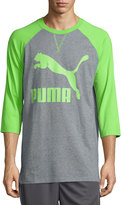 Puma Raglan-Sleeve Cotton Top, Jasmine Green