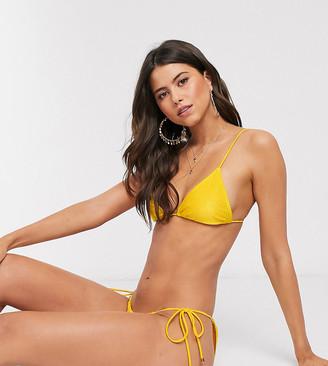 South Beach Exclusive mix and match rib triangle bikini top in yellow