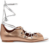 Malone Souliers Savannah Lace-up Metallic Leather Sandals - Gold
