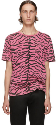 Saint Laurent Pink and Black Used-Look Zebra T-Shirt