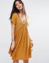MANGO Plunge Front Embroidered Smock Dress