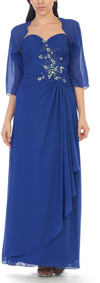 Mayqueen MayQueen Women's Special Occasion Dresses Royal - Royal Blue Floral Embroidered Gown & Shrug - Women