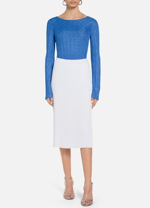 St. John Lined Fluid Viscose Plisse Knit Skirt