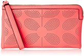 Orla Kiely Sixties Stem Punched Leather Flat Zip Wallet