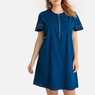 Castaluna Plus Size Embroidered Sleeve Textured Zip Front Dress