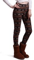 HDE Women Winter Knit Leggings Fleece Line Nordic Design Thermal Insulated Pants (Black White Dots and Reindeer,)