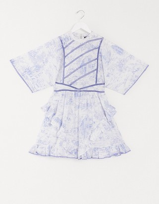 ASOS DESIGN high neck mini skater dress with ladder inserts in blue and white toile de joue