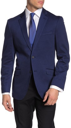 Savile Row Co Slim Solid Blue Notch Lapel Blazer