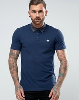 Pretty Green Mayflower Polo Printed Woven Buttondown Collar in Navy