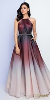 Terani Couture Low Back Pleated Ombre Evening Gown