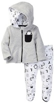 Boppy Animals & Letters Doodle Thermal Hoodie & Footed Pant Set (Baby Boys)