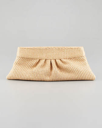 Lauren Merkin Louise Pleated Raffia Clutch Bag, Natural