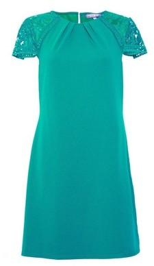 Dorothy Perkins Womens Green Lace Sleeve Shift Dress, Green