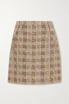 Veronica Beard Roman Checked Tweed Mini Skirt - Brown
