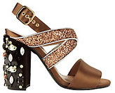 Marni Cross Glitter Strap Bejeweled Sandals