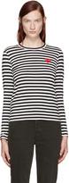 Comme des Garcons Black & White Striped Heart Patch T-Shirt