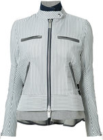 Sacai striped military jacket - women - Cotton/Nylon/Polyester/Wool - 2