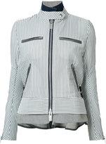 Sacai striped military jacket - women - Cotton/Nylon/Polyester/Wool - 3