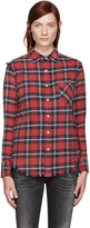 R 13 Red Plaid Inside Out Slim Boy Shirt