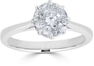 Zydo 18k White Gold Mosaic Round Diamond Engagement Ring, Size 6.5