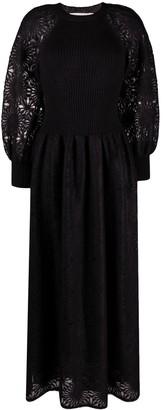 Alberta Ferretti Fitted-Bodice Panelled Dress