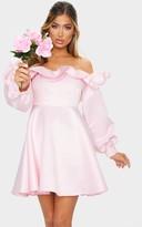 Bardot 4fashion Baby Pink Bonded Satin Ruffle Skater Dress