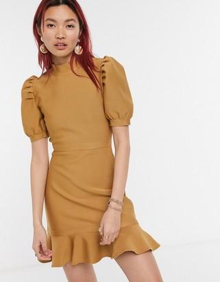 Skylar Rose knitted mini skater dress with balloon sleeves