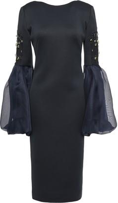 Lanvin Open-back Embellished Organza And Ponte-paneled Dress