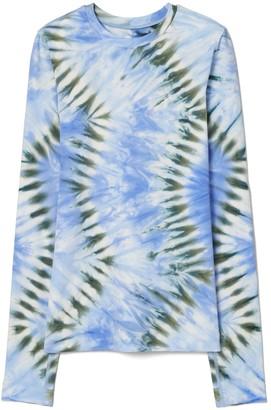Tory Burch Tie-Dye Tissue-Seamless Long-Sleeve Top