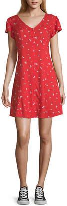Arizona Juniors Short Sleeve Floral Fit & Flare Dress