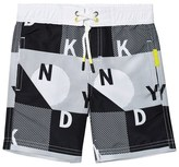 DKNY Black and White Checked Logo Swim Shorts