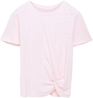 Enza Costa Knotted Perforated Slub Cotton-jersey T-shirt